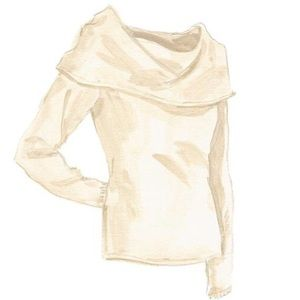 Cashmere off the shoulder cream 90210 sweater